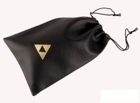 "Legend of Zelda Ocarina of Time Black Leatherette 12 Hole Ocarina Bag 5x7"" with Triforce Logo (12HOLETRIBG)"