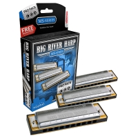 Hohner 3P590BX Big Harp Pro Pack 3 Harmonica Set with Key of C, G, and A (Big River Harp Pro P)