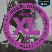 D'Addario EXL120-8 8-String Nickel Wound Super Light Gauge 9-65 (EXL120-8)