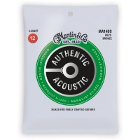 Martin MA140S Acoustic Guitar Strings Marquis Silked 80 20 Bronze Light Gauge 12-54 (MA140S)