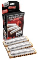 Hohner 3P1896BX Marine Band Harmonica Pro Pack Includes the Keys of C, G, and A (3P1896BX)