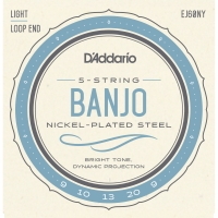 D'Addario EJ60NY 5-String Banjo Nickel Plated Steel Light Gauge 9-20 (EJ60NY)
