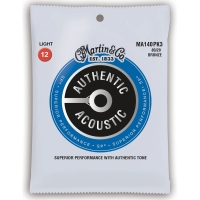 3 Pack Martin MA140 Light Acoustic Guitar Strings 80/20 Bronze 12-54 MA140PK3 (MA140PK3)