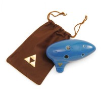 Legend of Zelda Ocarina of Time Replica 6 Hole Ocarina with Triforce Embossed Genuine Leather Bag (SO-SWP-WBG)